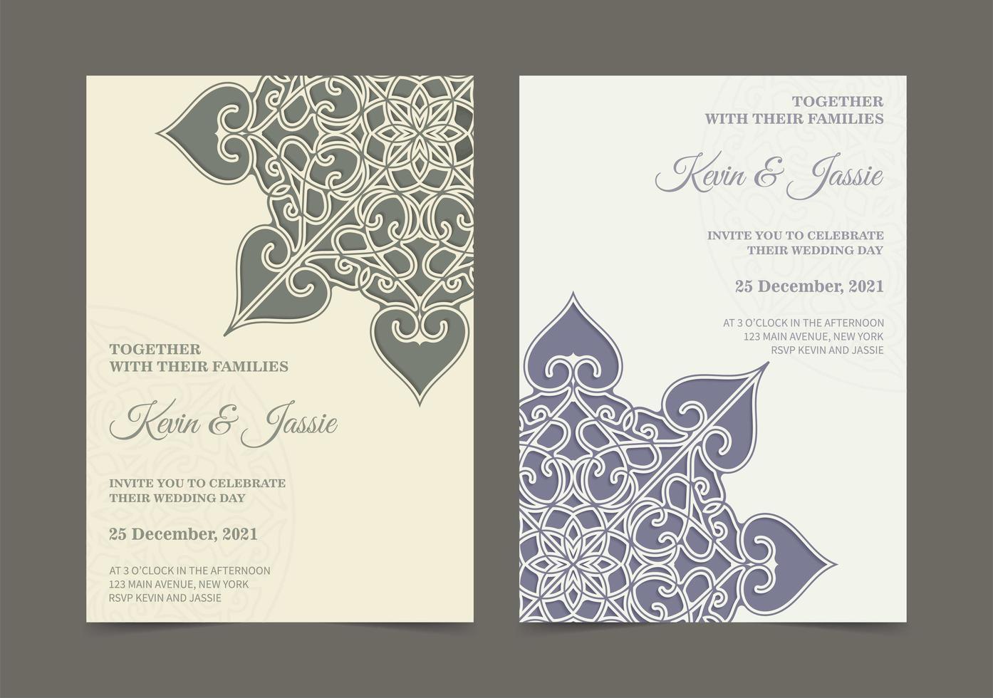 retro mandala stil bröllopsinbjudan uppsättning vektor