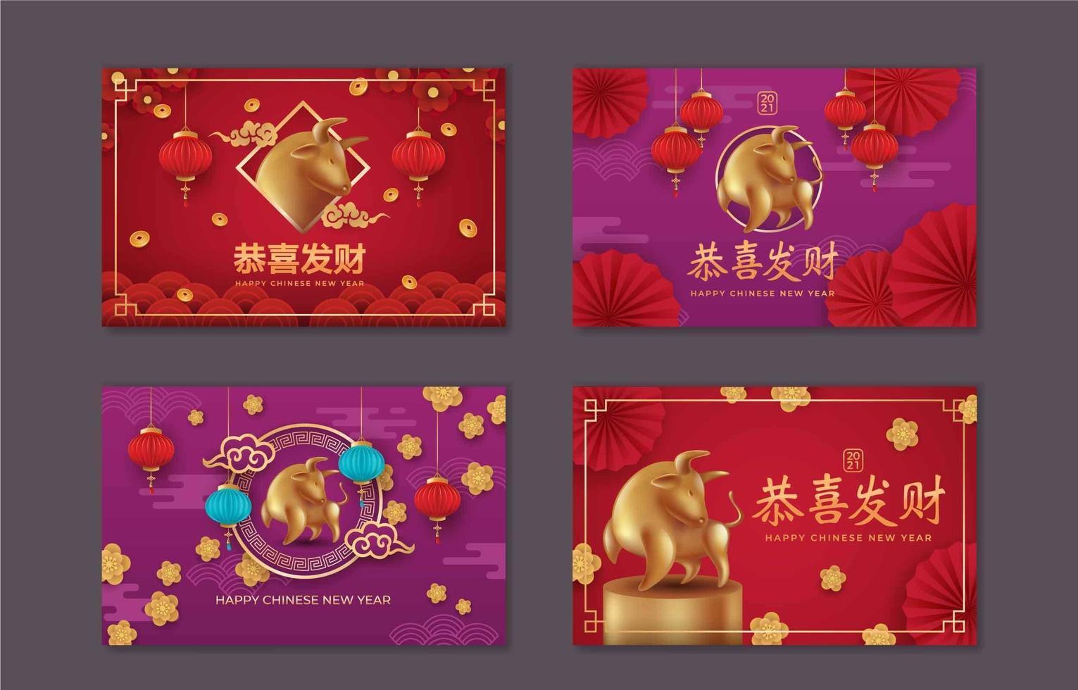 Satz chinesisches Neujahr, Jahr der Ochsenkarte vektor