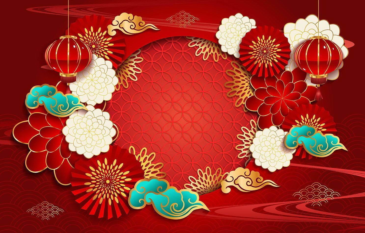 kinesiska nyår festlighet bakgrund koncept vektor