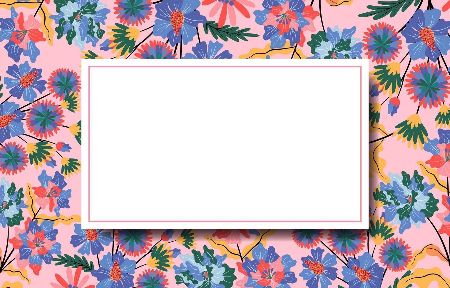 naturlig blommig bakgrund med vit ram i mitten vektor