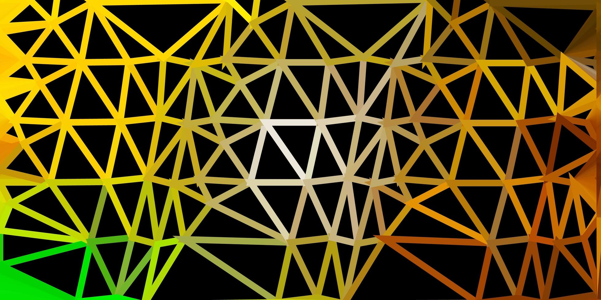 mörkgrön, gul vektor triangel mosaik bakgrund.