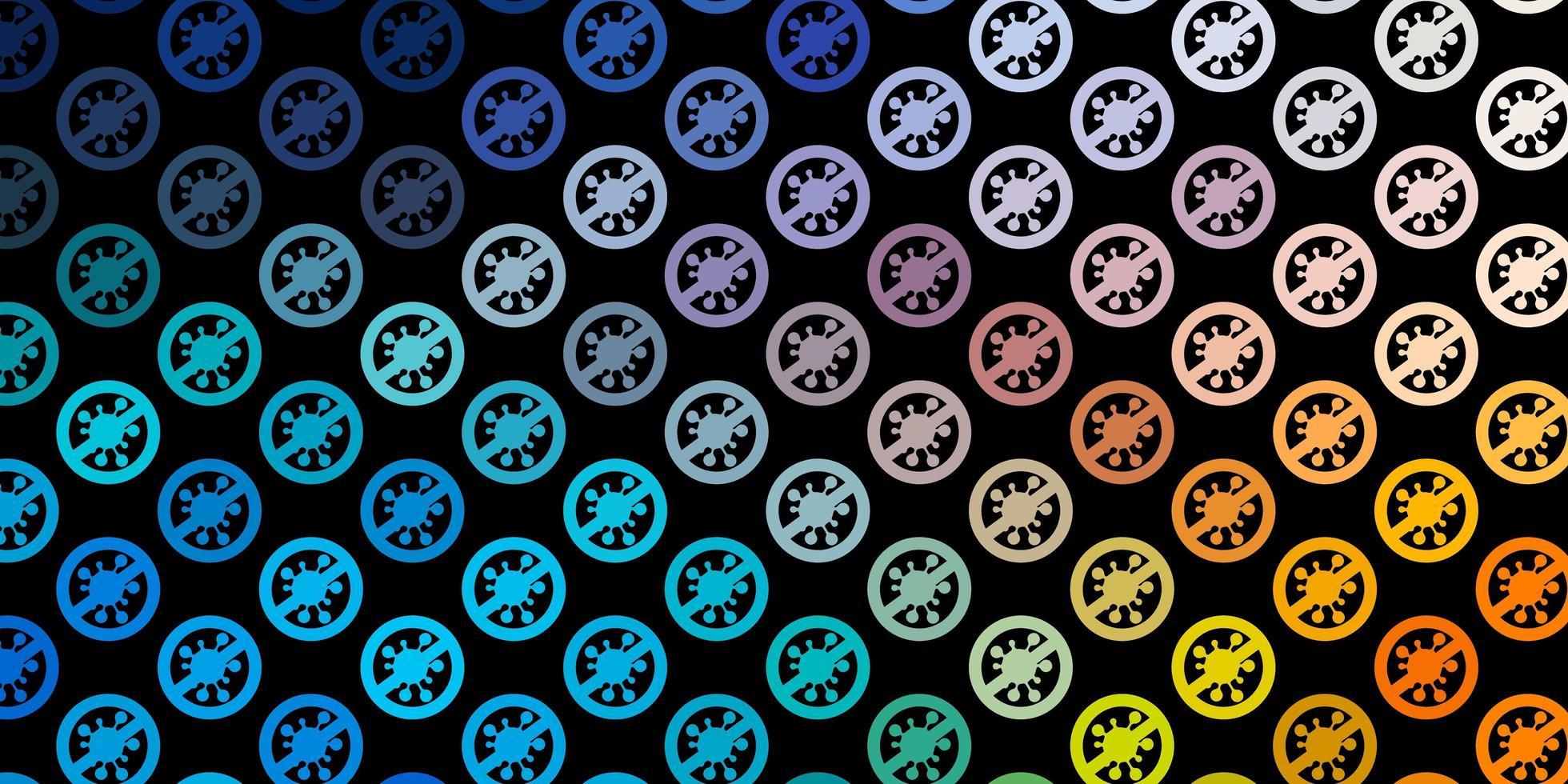 dunkelblauer, gelber Vektorhintergrund mit Virensymbolen. vektor