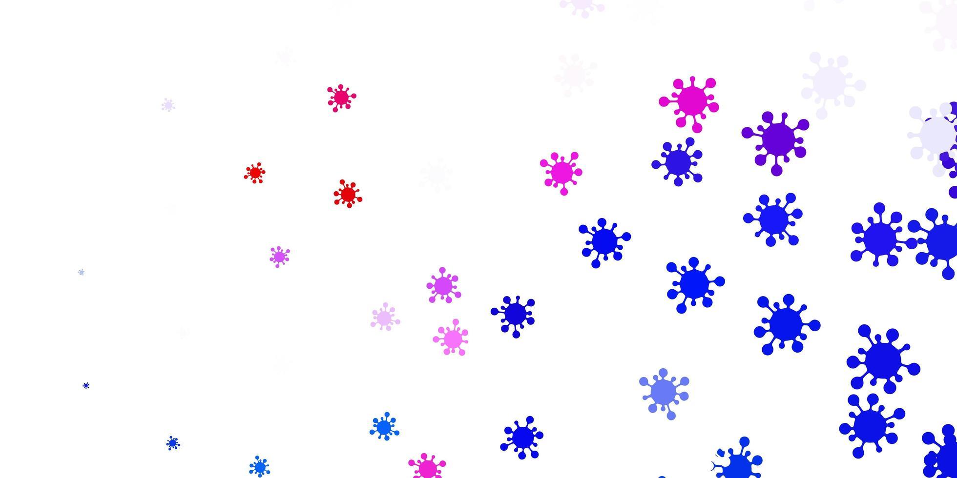 hellblaues, rotes Vektormuster mit Coronavirus-Elementen. vektor