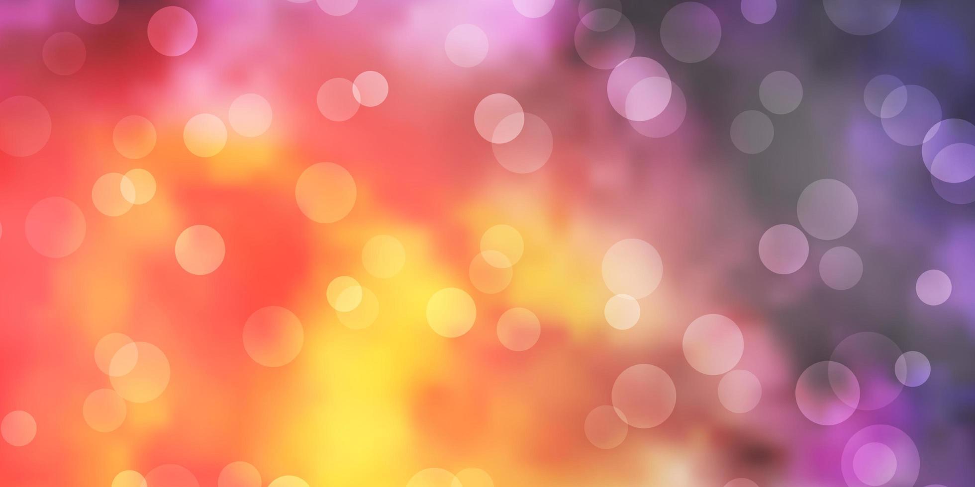 hellrosa, gelber Vektorhintergrund mit Kreisen. vektor