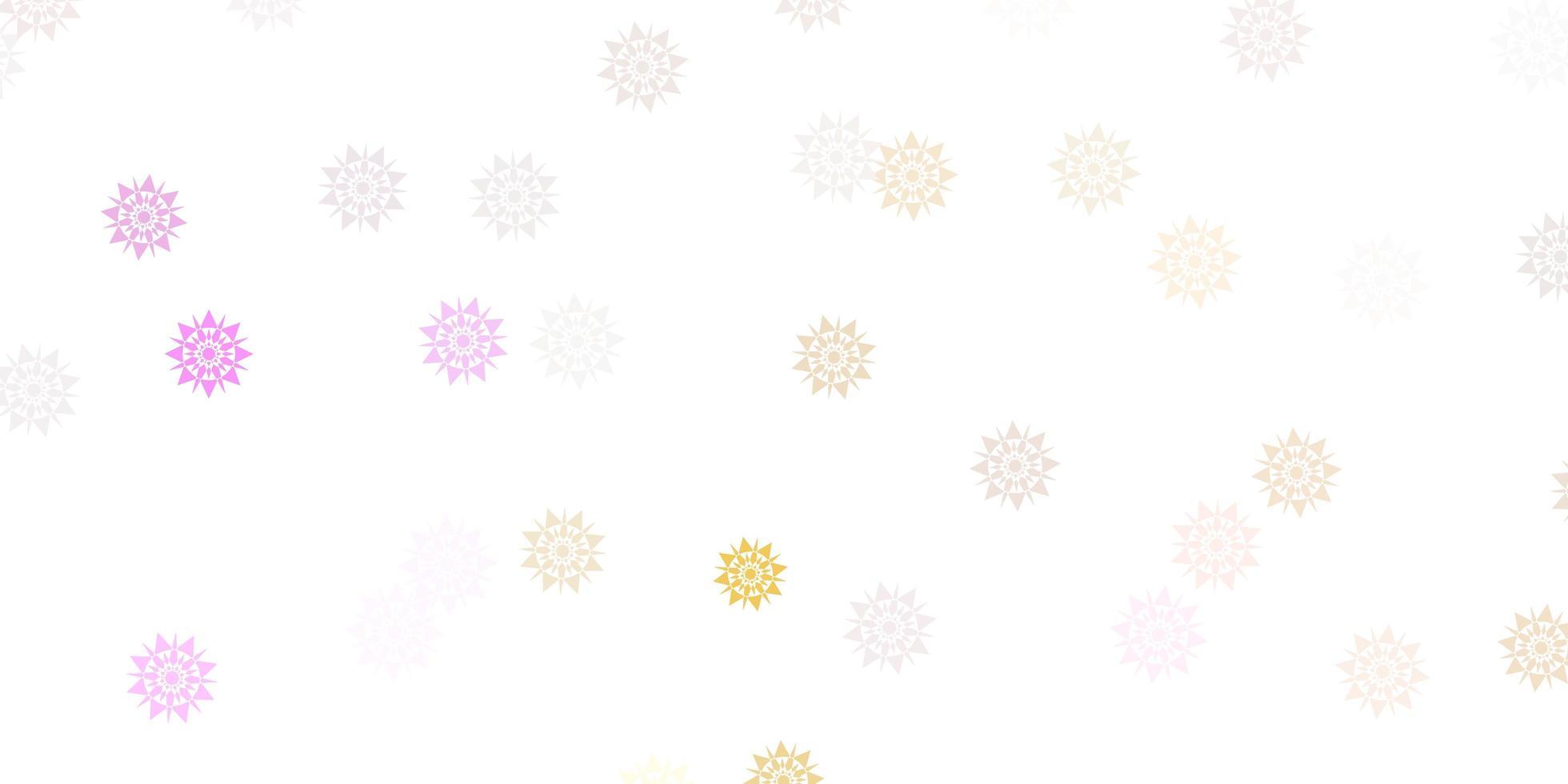 hellrosa, gelber Vektor schöner Schneeflockenhintergrund mit Blumen.