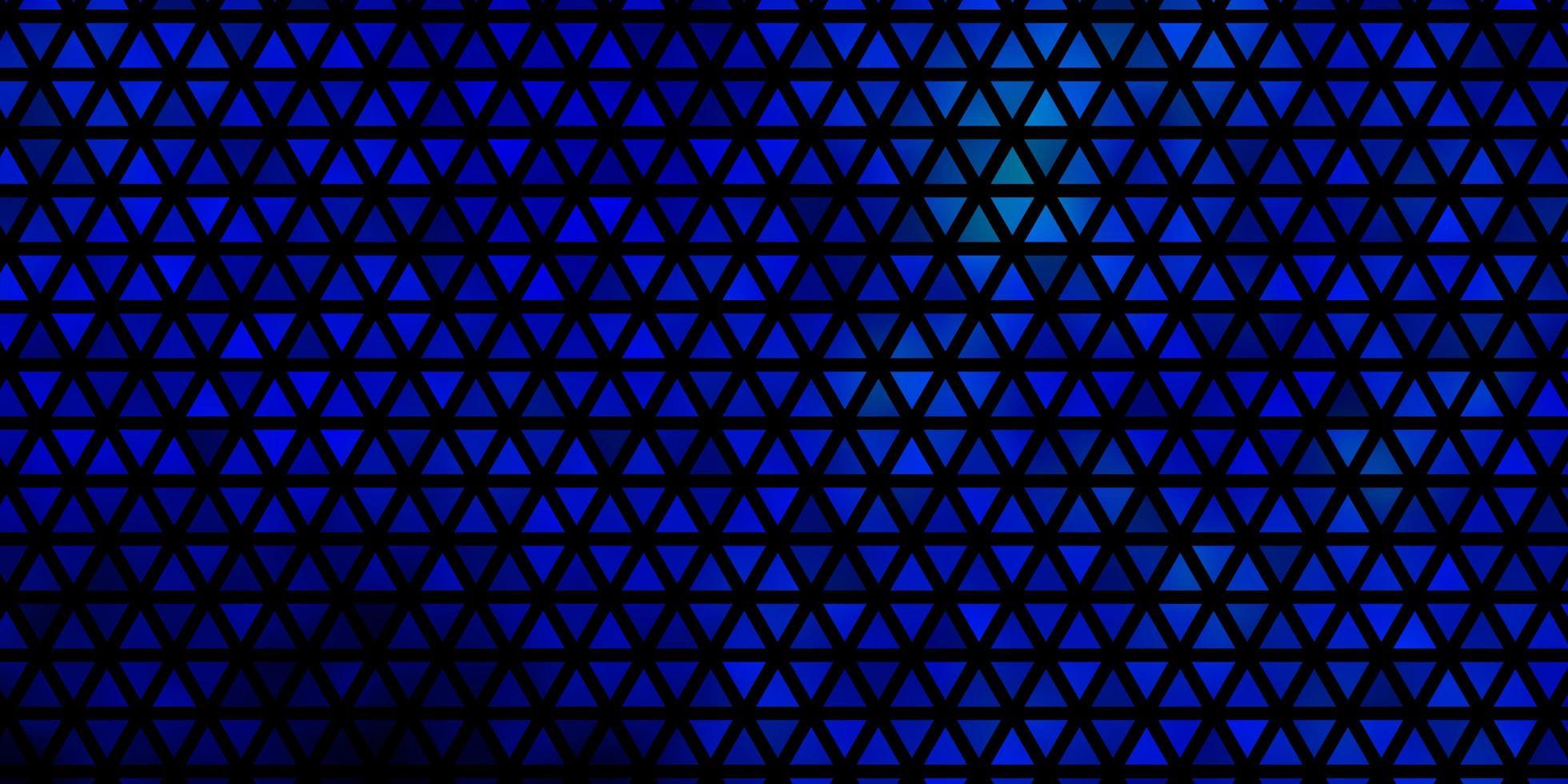 mörkblå vektormall med kristaller, trianglar. vektor