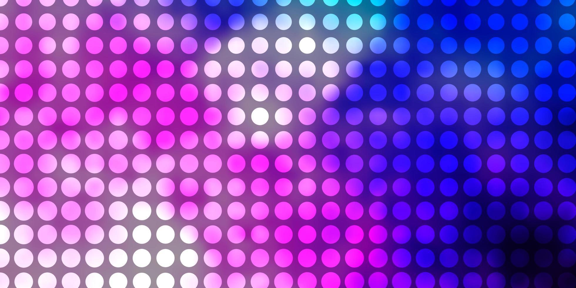 hellrosa, blauer Vektorhintergrund mit Kreisen. vektor