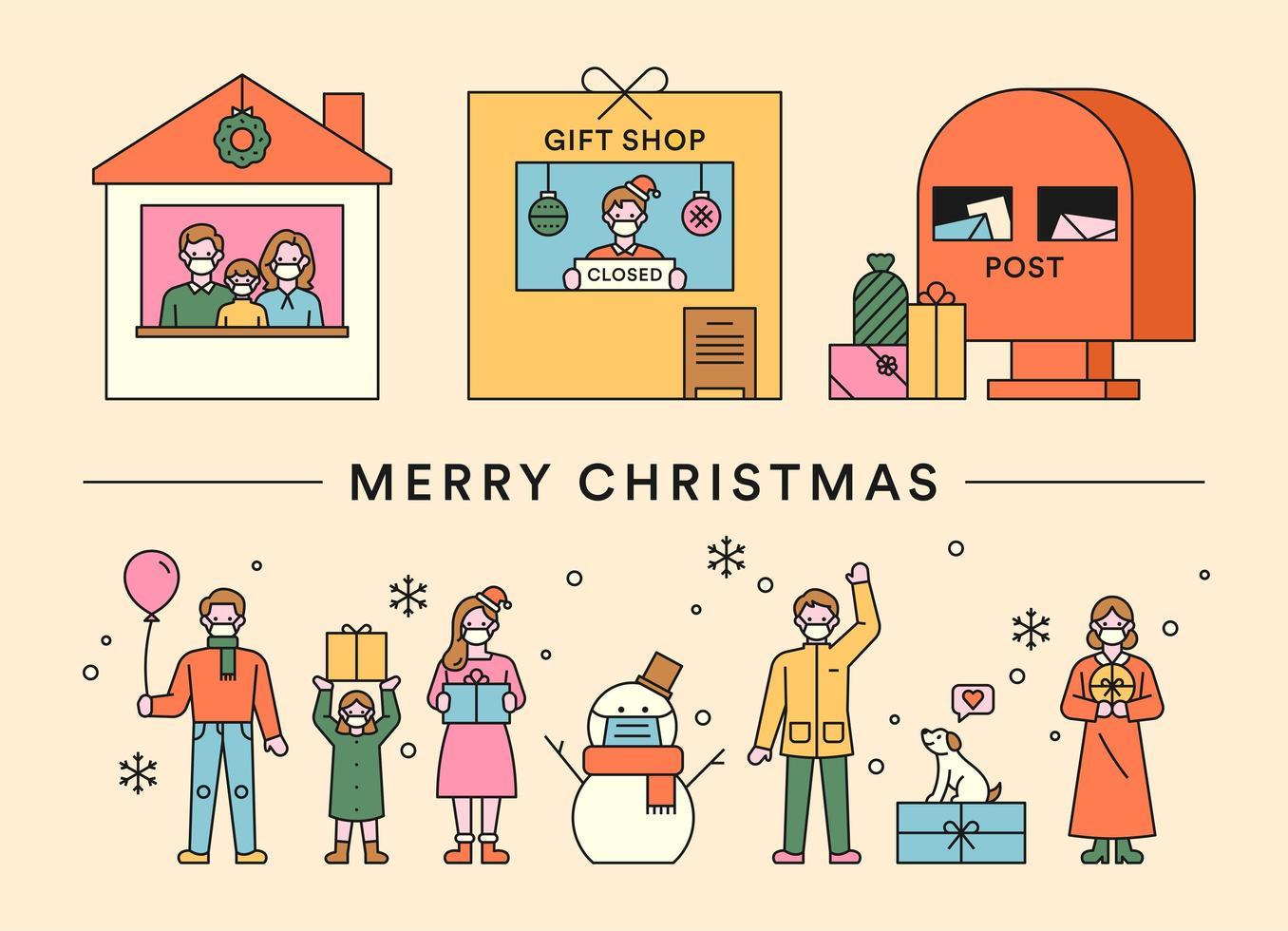 Frohe Weihnachten Geschenkszenen und Menschen vektor