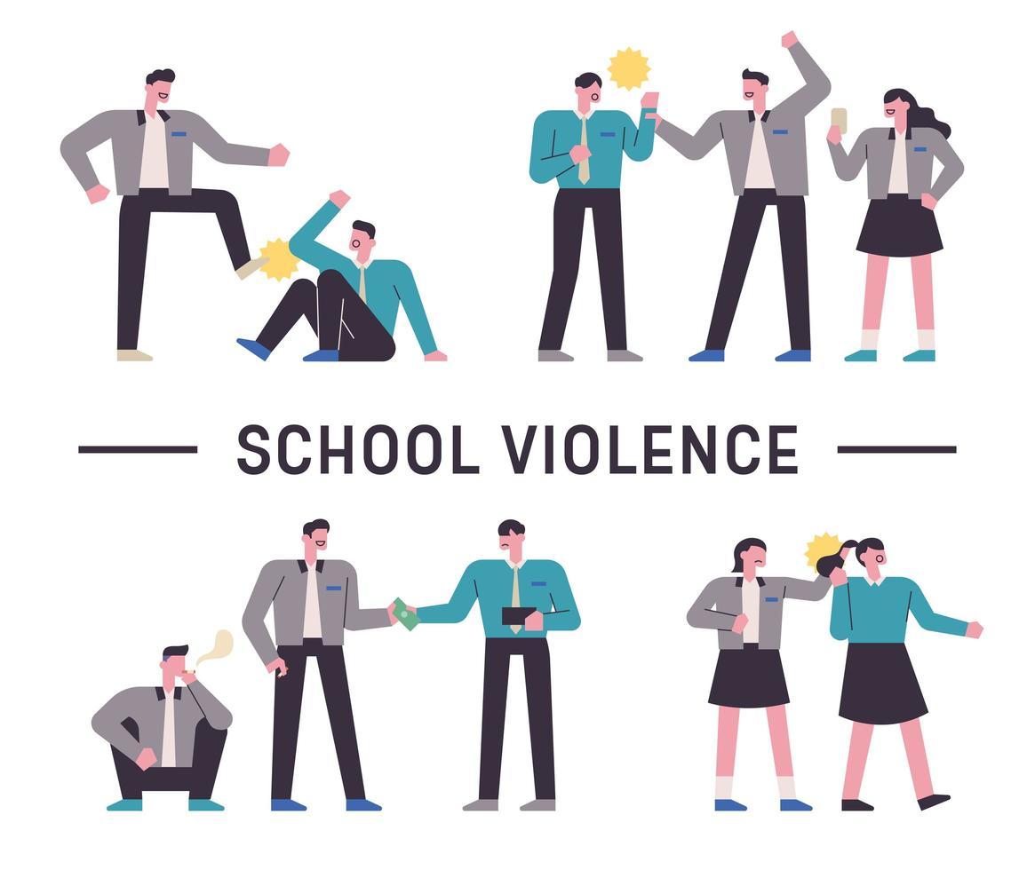 Schüler mit schulischer Gewalt vektor