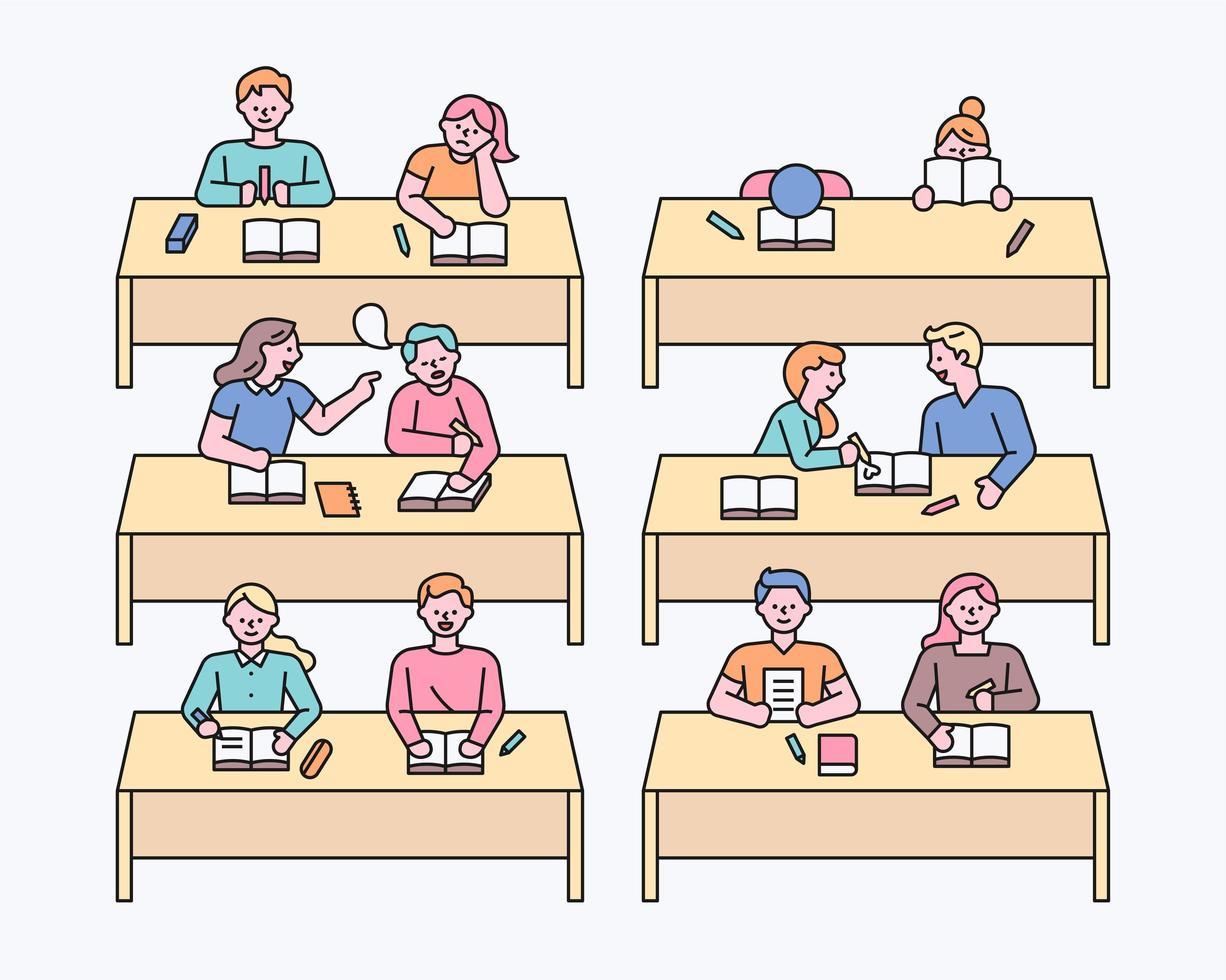 klassrum och klasskamrat vektor