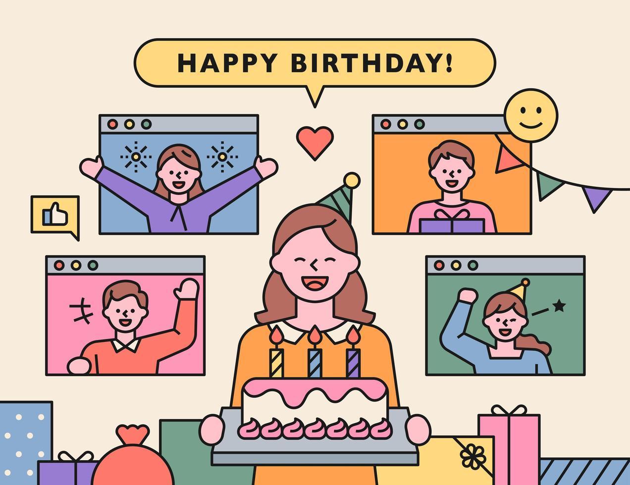 Online-Geburtstagsfeier vektor