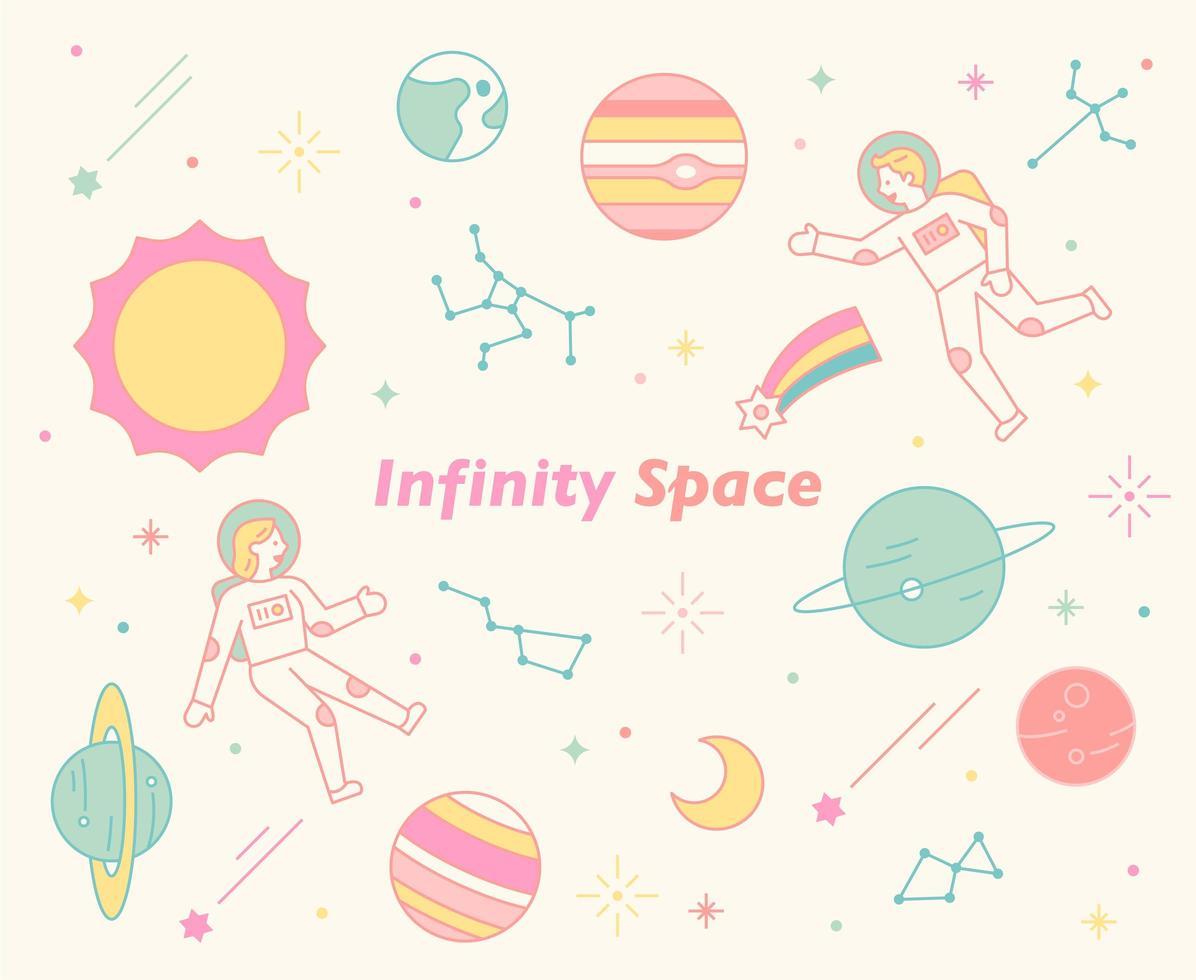 Astronauten schwimmen in einem unruhigen Universum. vektor