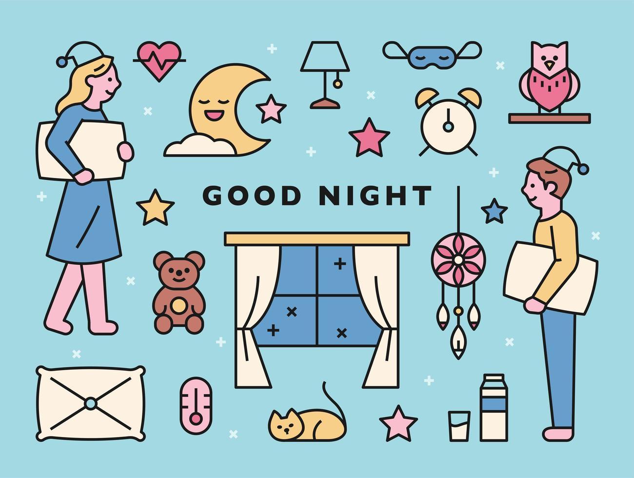 god natt karaktär och ikoner vektor