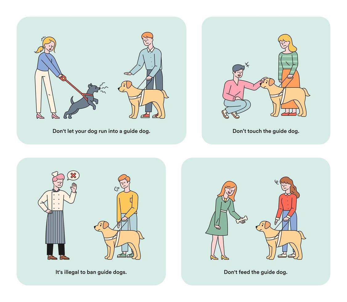 informationsillustration för ledarhundar för synskadade. vektor
