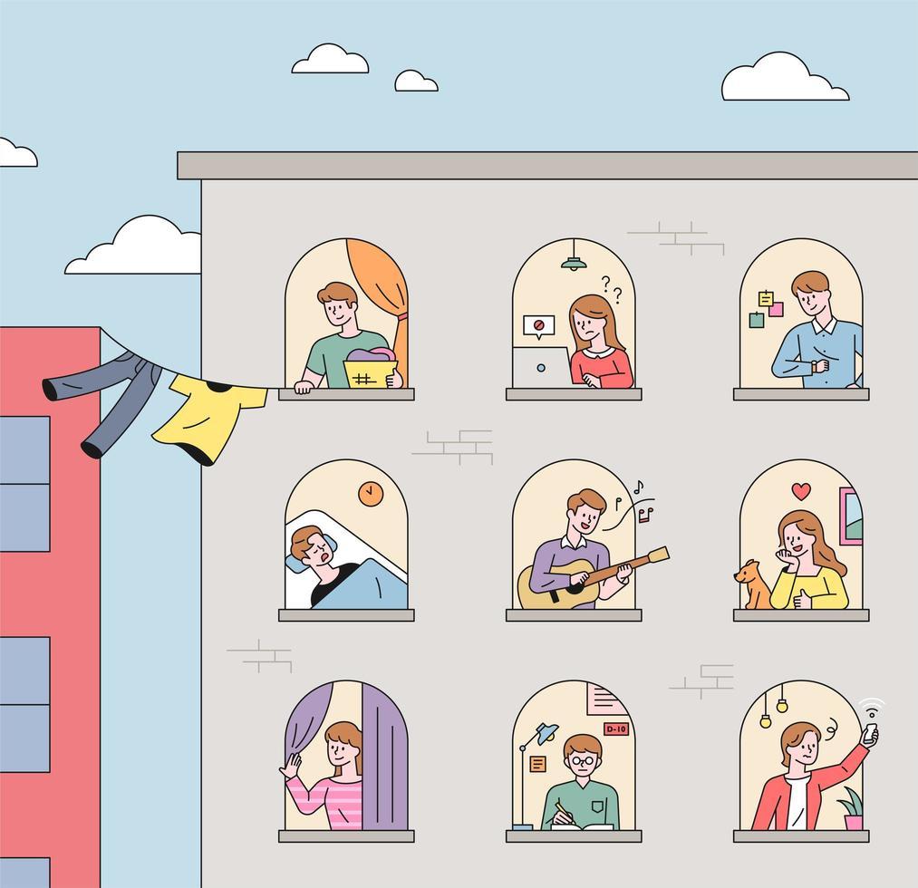 grannar som bor i lägenheter vektor