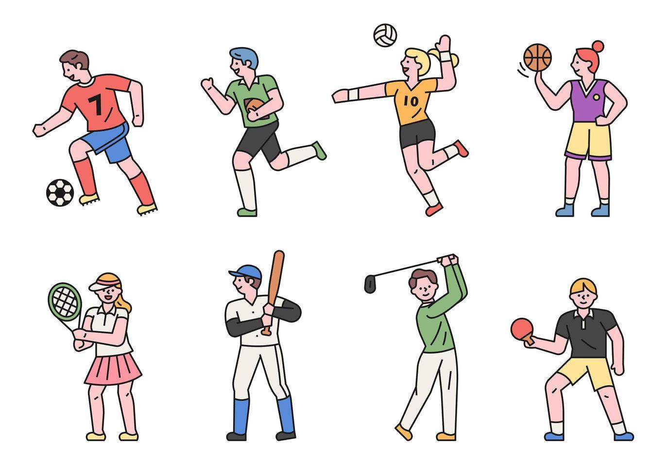sportspelare teckenuppsättning. vektor