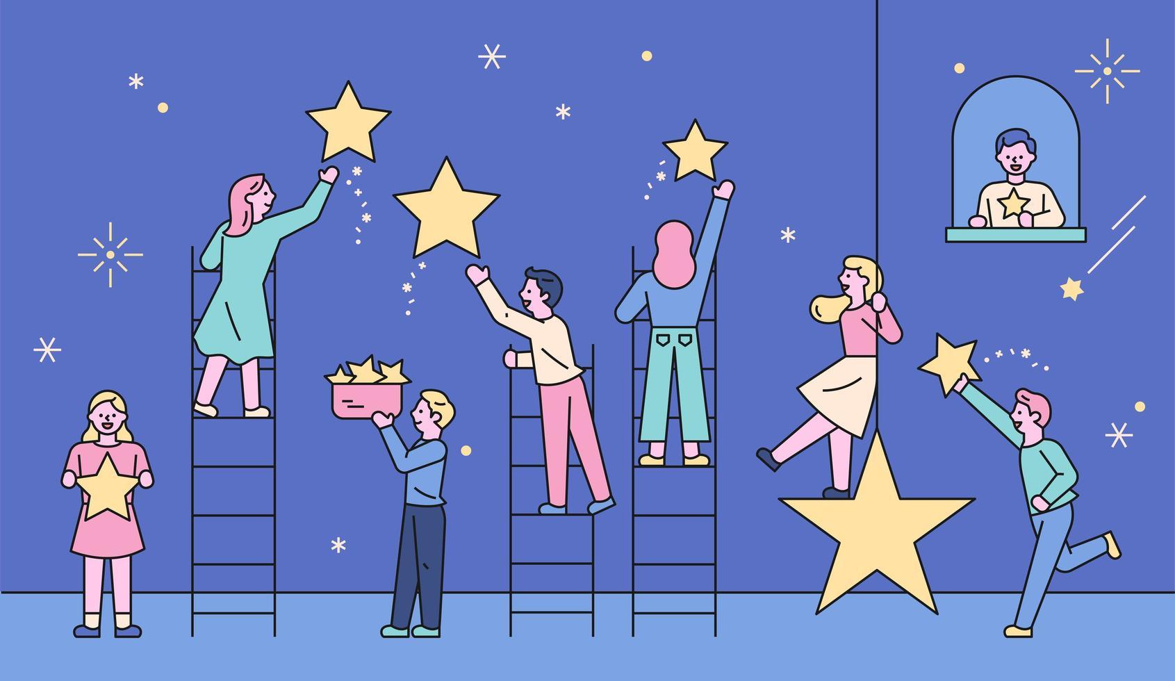 de som plockar upp stjärnorna på himlen. vektor