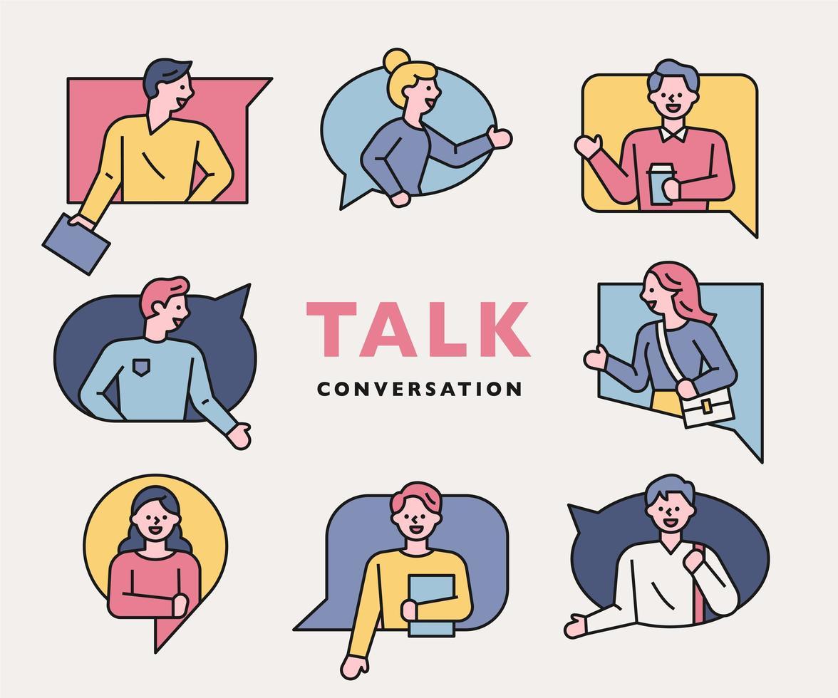 konversation människor ikoner samling. vektor