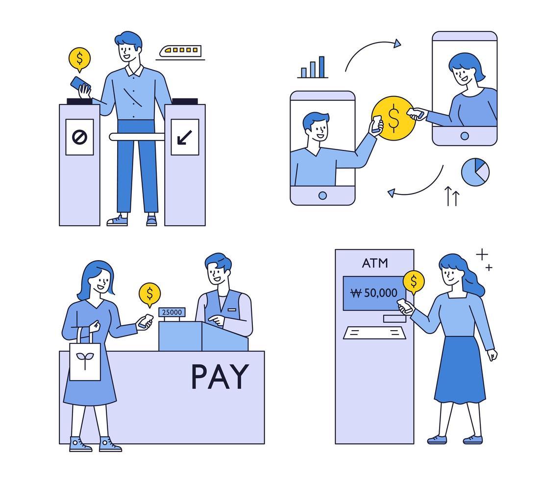 koncept för betalningssystem för smartphone. vektor