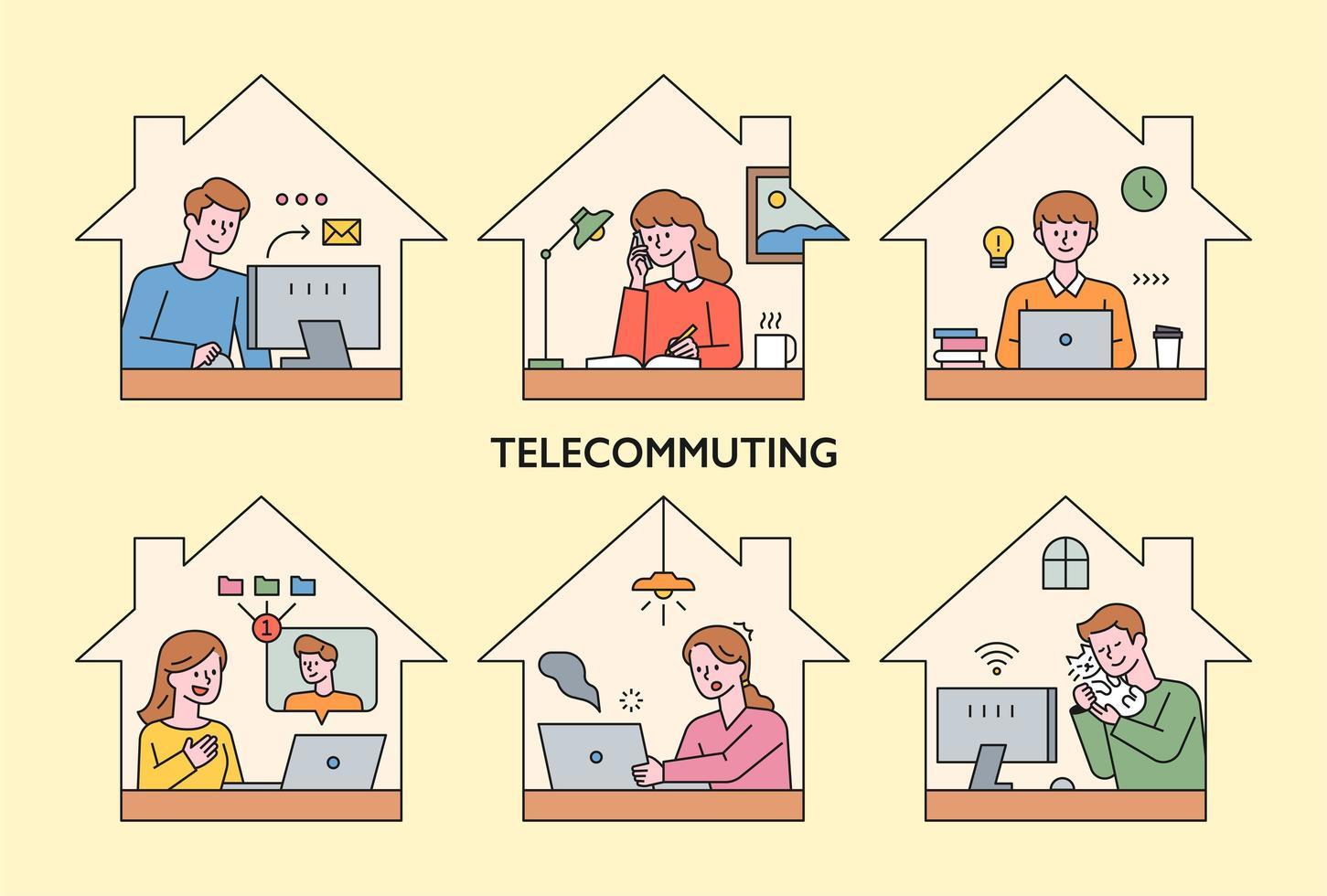 människor arbetar hemma via telekom. vektor