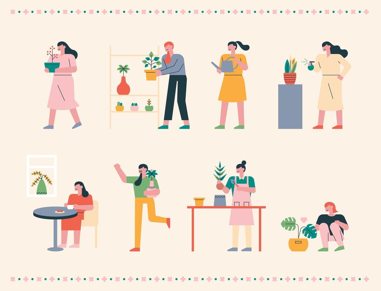hem trädgårdsarbete människor. vektor