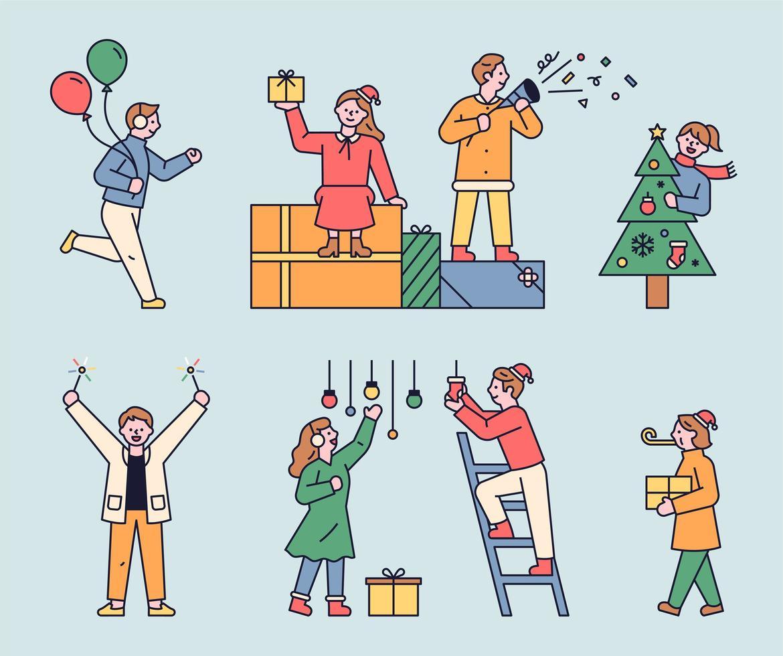 Die Leute bereiten sich auf die Weihnachtsfeier vor. vektor