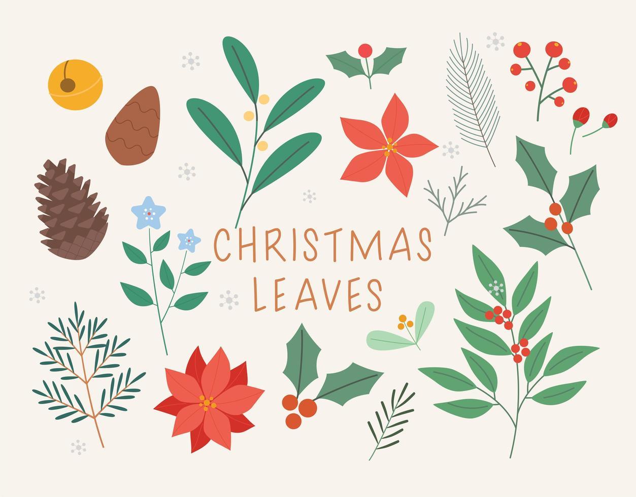 julkort dekoration lämnar. vektor