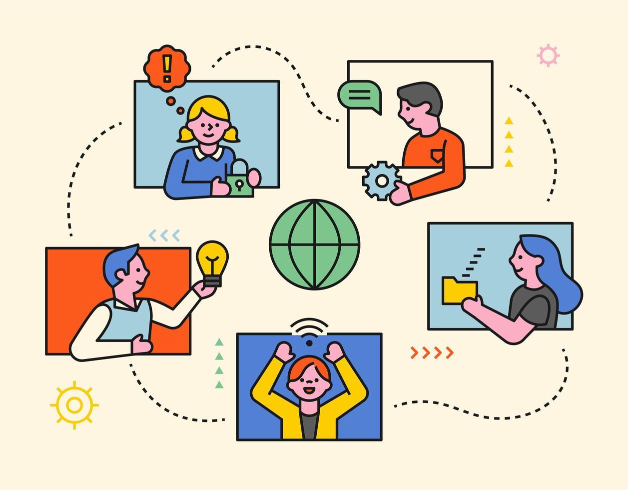 nätverk människor koncept mall. vektor