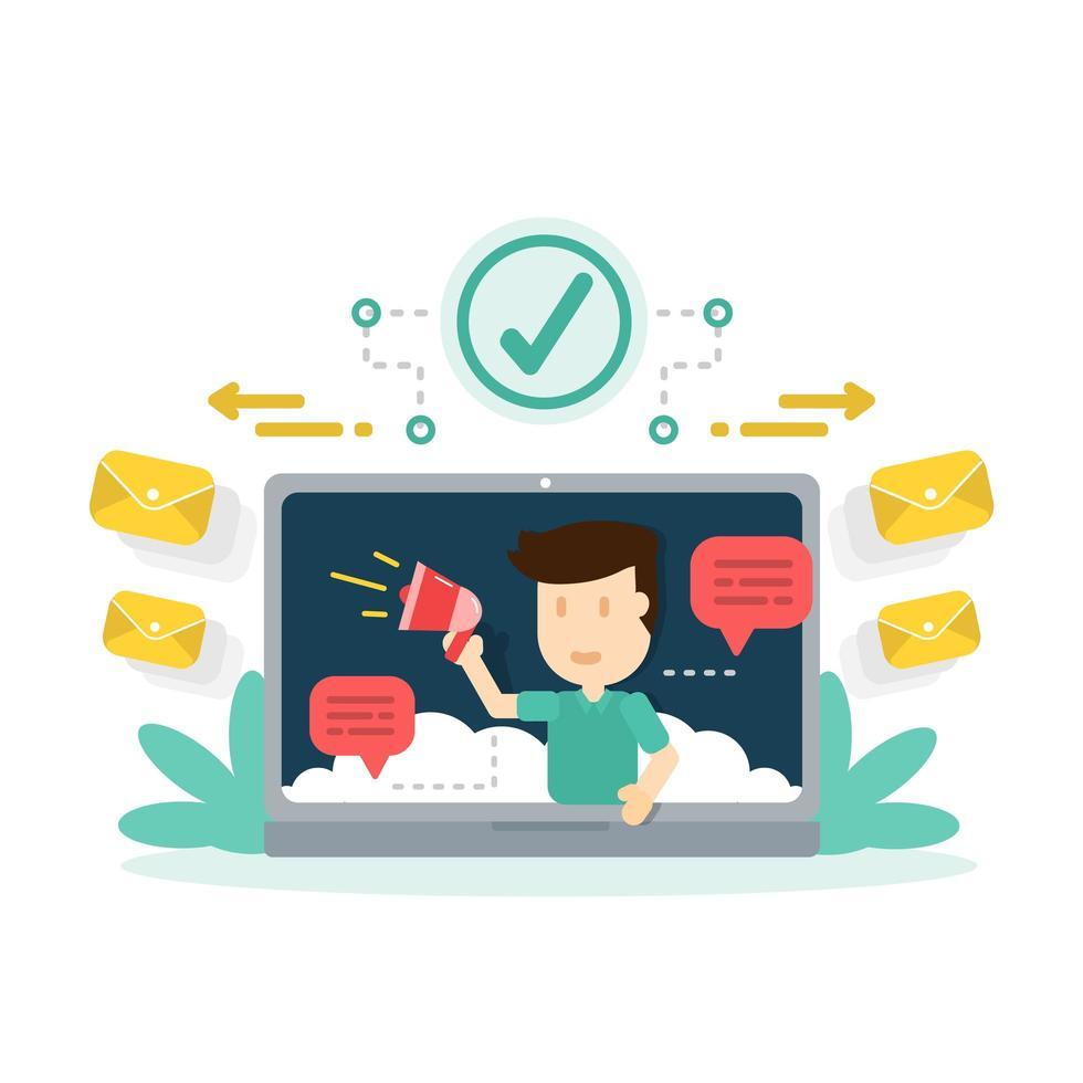 digital marknadsföring, marknadsföring av webbplatsinnehåll på internet och sociala medier vektor