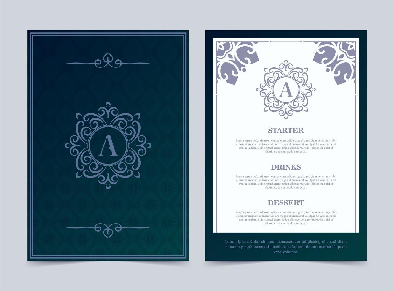 lyx restaurang meny designmall med utsmyckade logotyp vektor