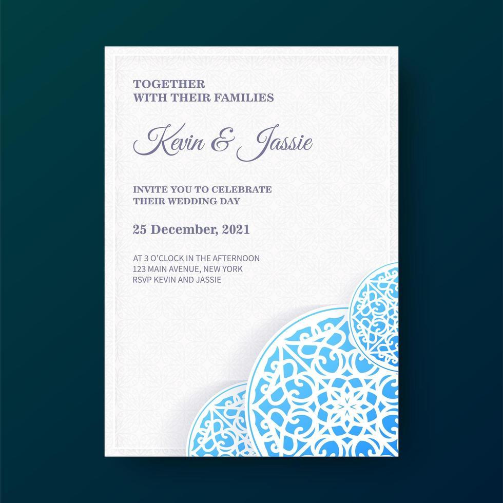 lutning mandala stil bröllopsinbjudan vektor