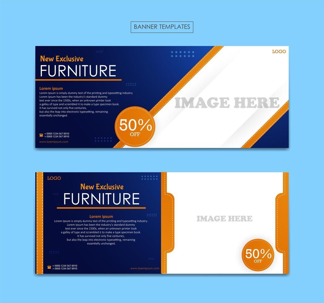 ställa in banner mall för möbler företag vektor