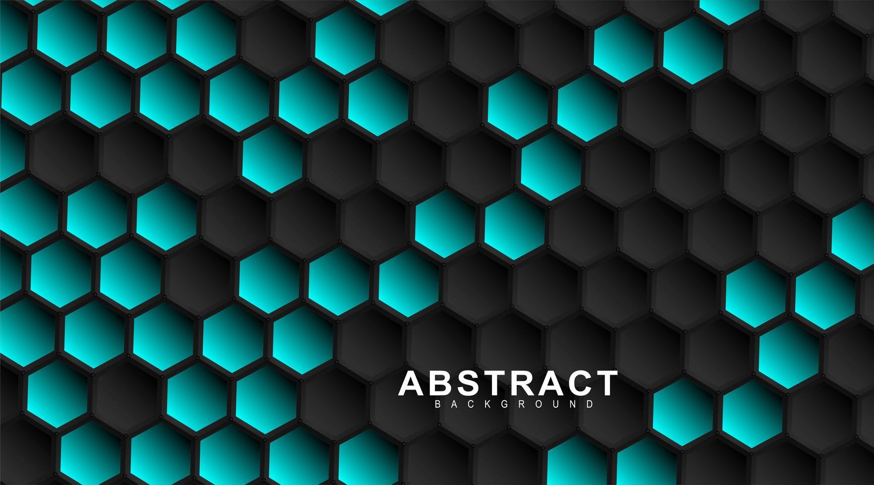 geometriska svarta hexagoner. yta polygon mönster med blå sexkant, bikaka. 3D design illustration teknik vektor