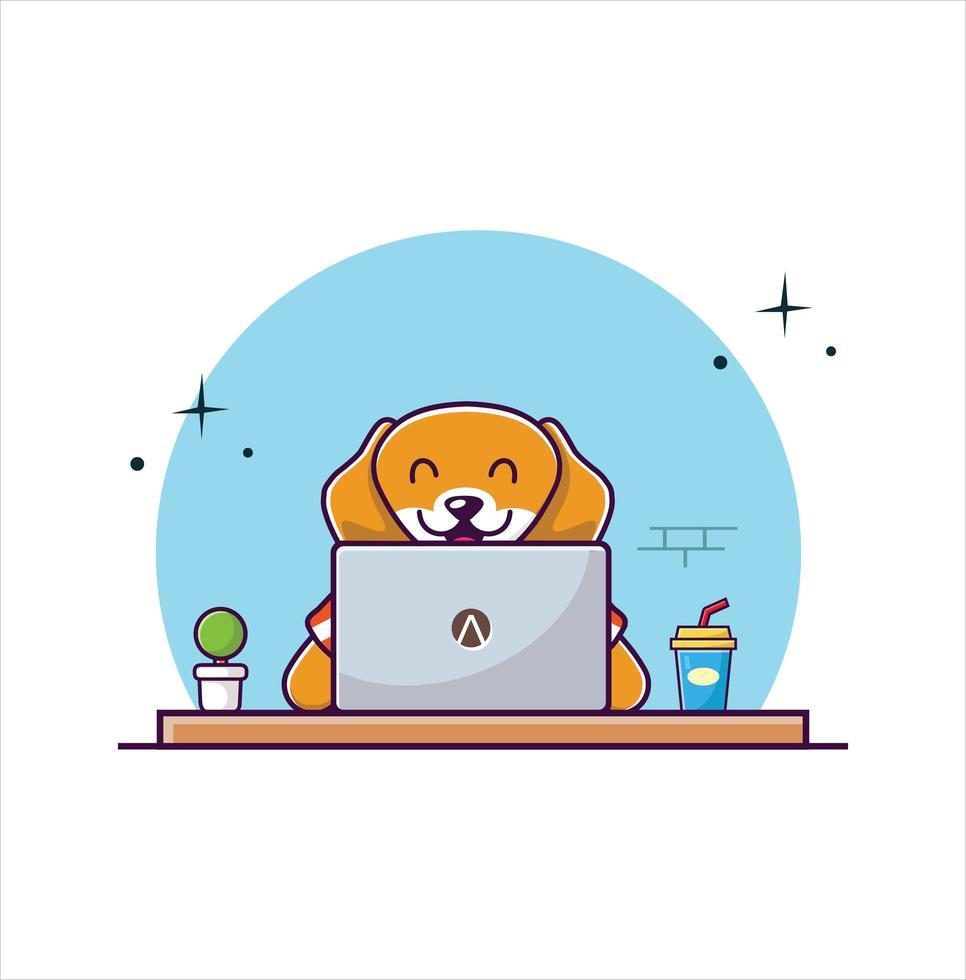 söt hund som arbetar på bärbar dator tecknad vektorillustration vektor