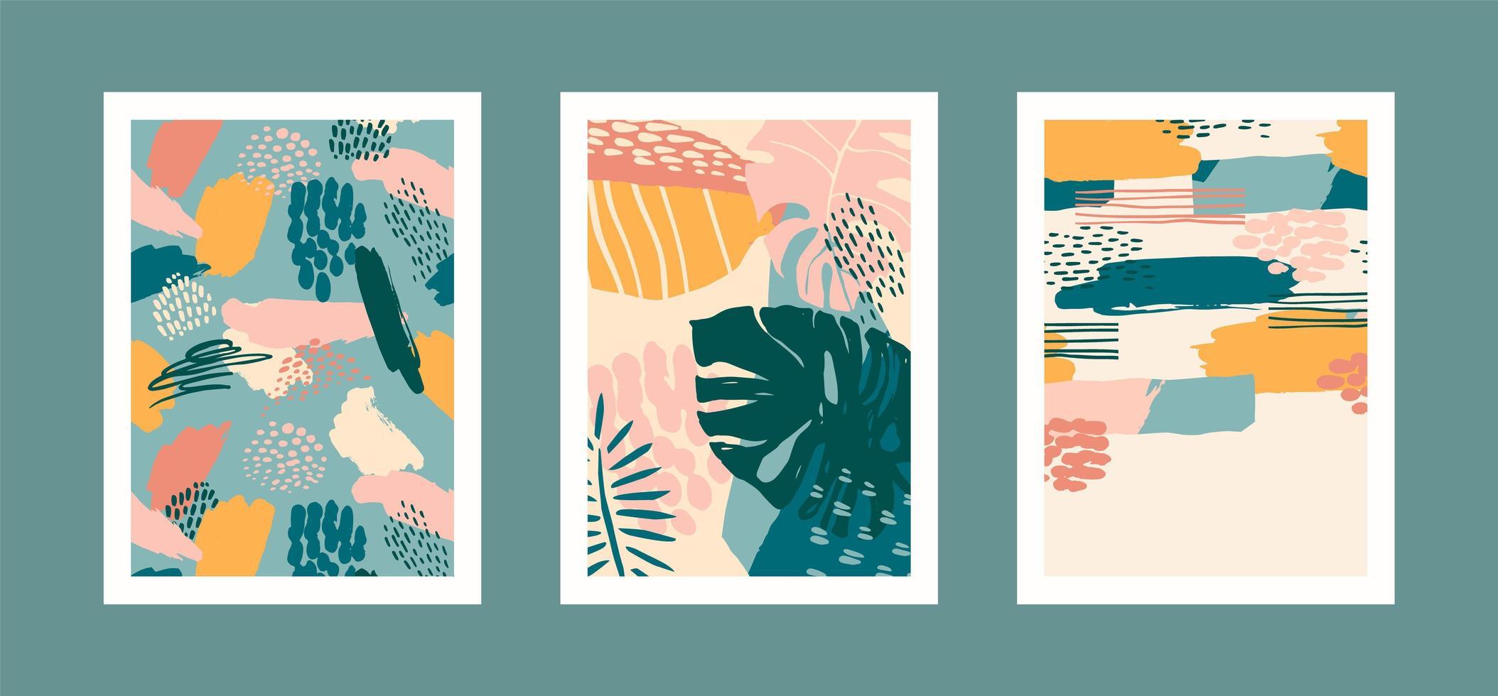 Sammlung von Kunstdrucken mit abstrakten tropischen Blättern. modernes Design für Plakate, Umschläge, Karten, Inneneinrichtung und andere Benutzer. vektor