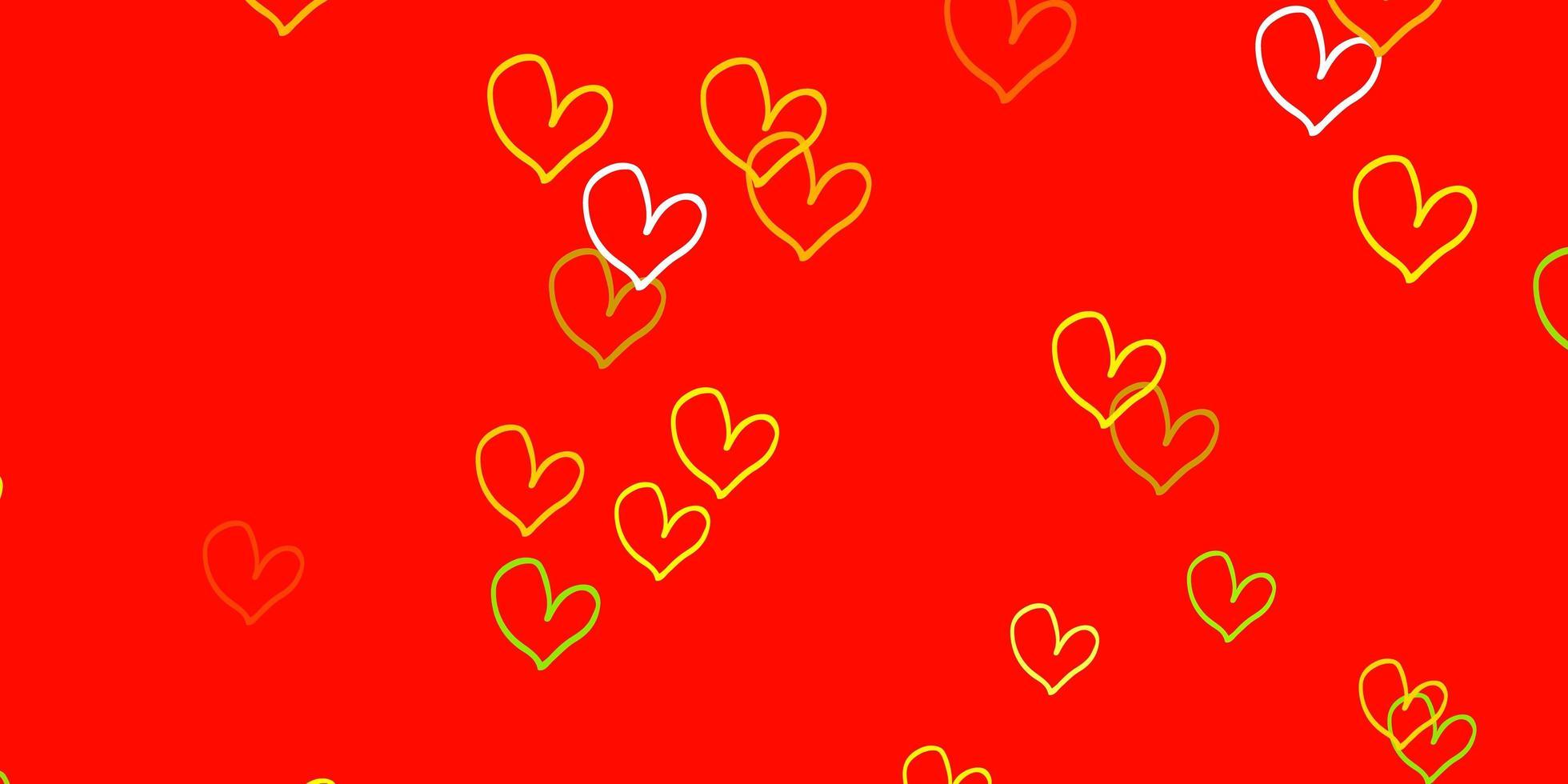 hellrotes, gelbes Vektormuster mit bunten Herzen. vektor