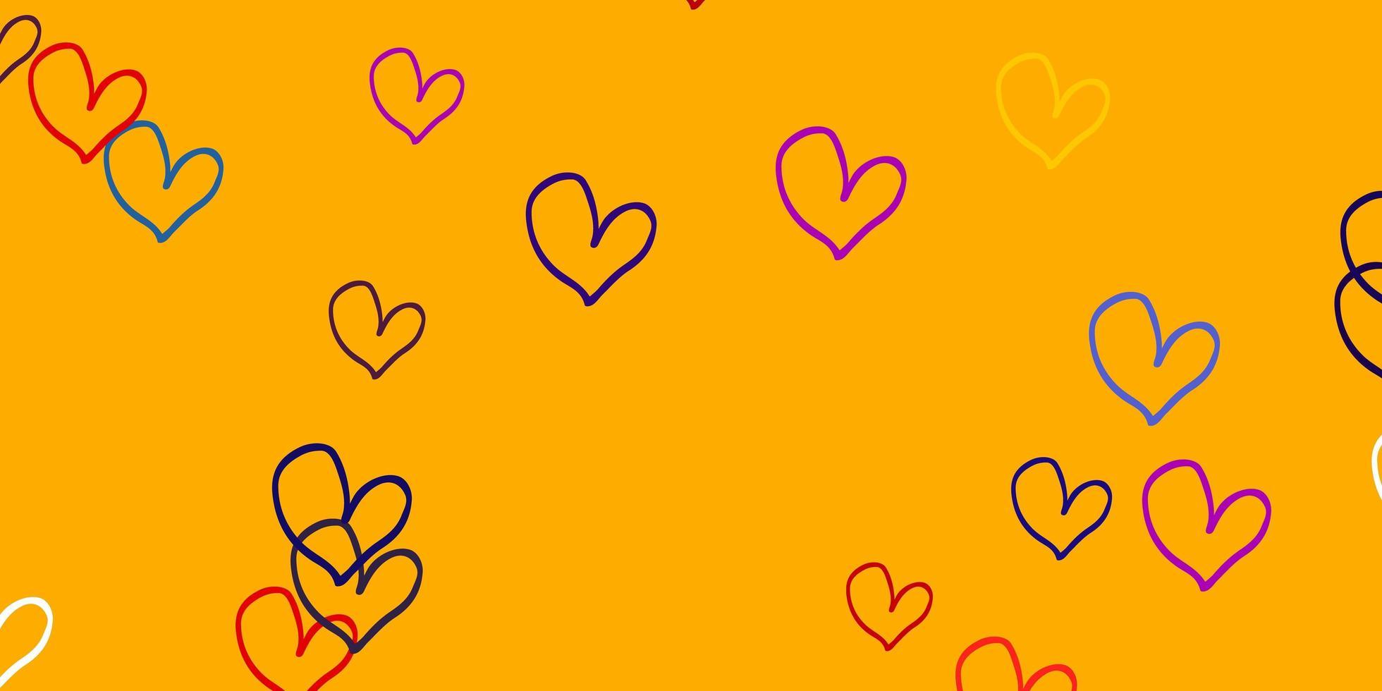 heller mehrfarbiger Vektorhintergrund mit Herzen. vektor