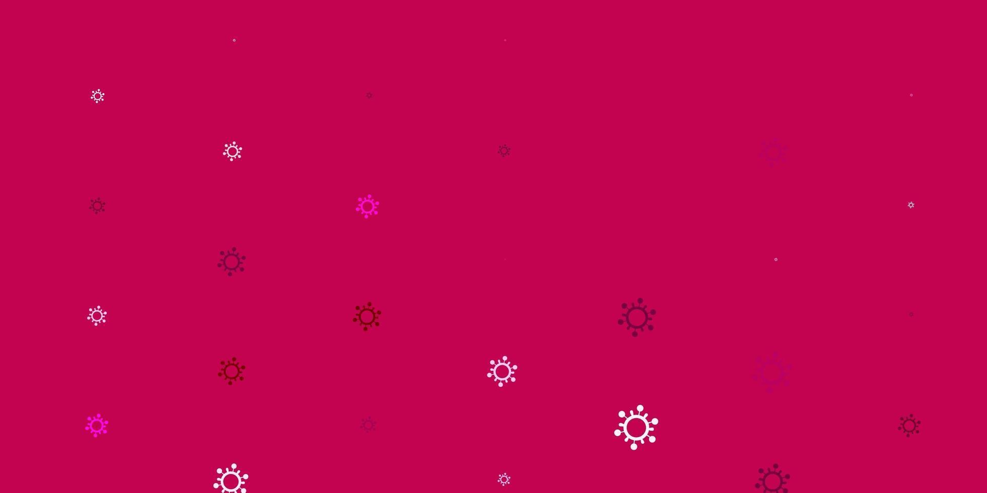 hellrosa Vektorhintergrund mit Virensymbolen. vektor