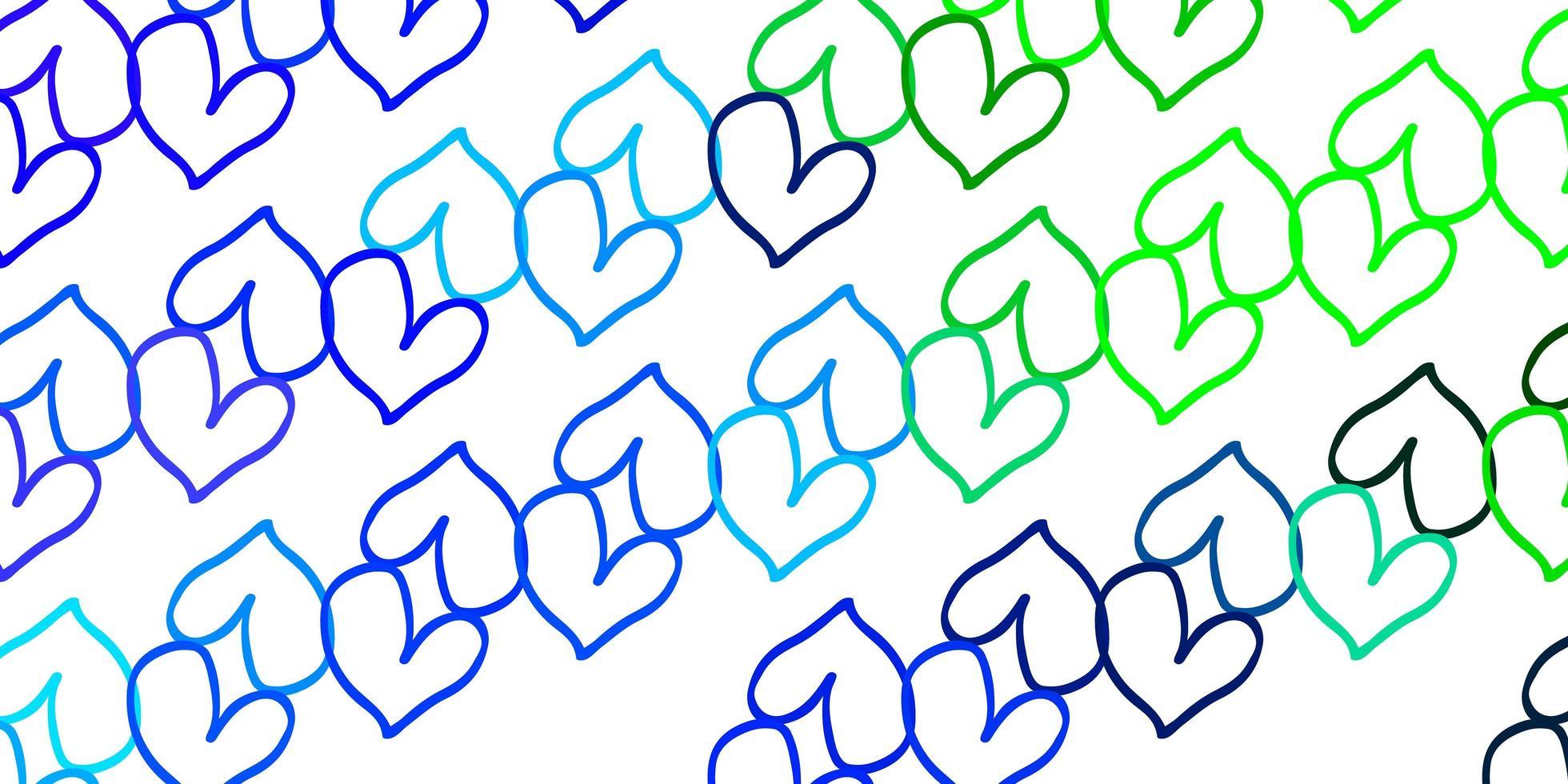 hellblauer, grüner Vektorhintergrund mit leuchtenden Herzen. vektor
