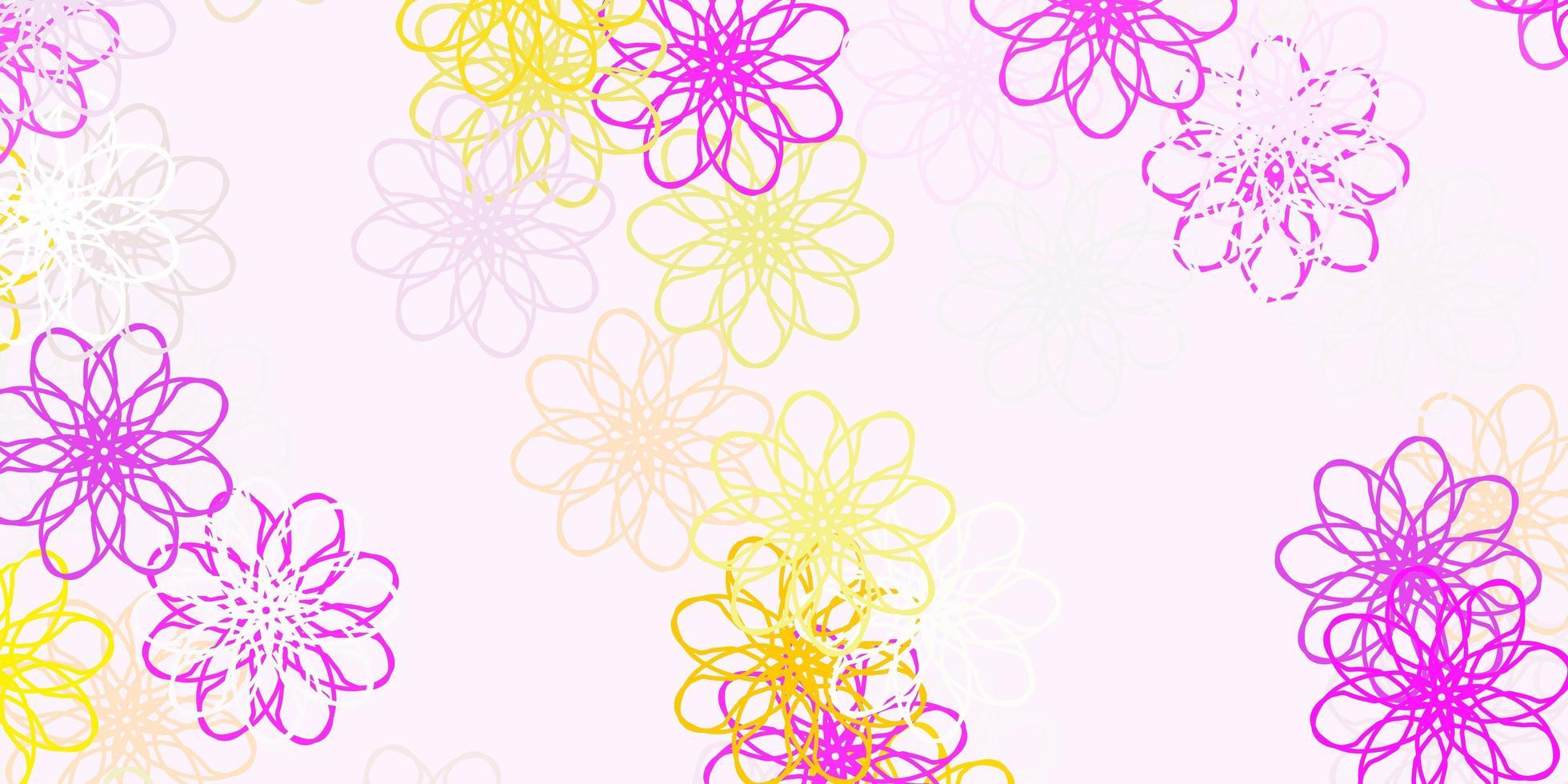 natürlicher Hintergrund des hellrosa, gelben Vektors mit Blumen. vektor
