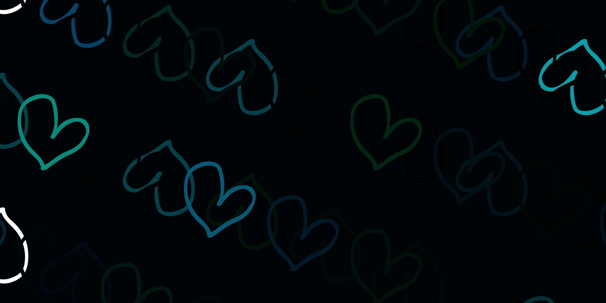 hellblauer, grüner Vektorhintergrund mit Herzen. vektor
