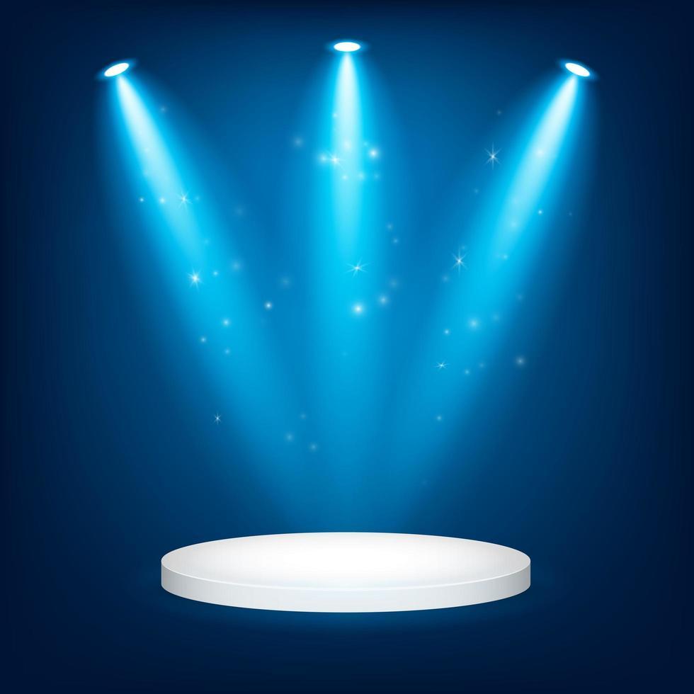 Blaulicht-Preisverleihung mit rundem Siegerpodest vektor