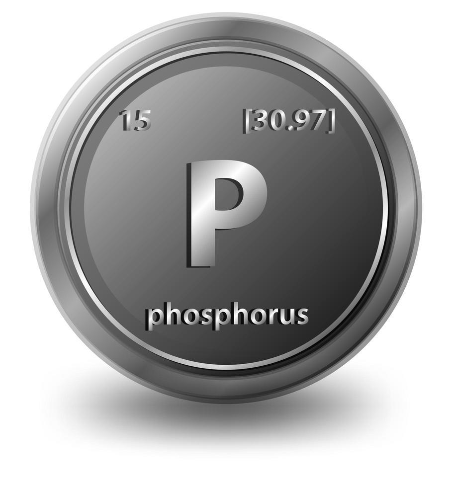 fosfor kemiskt element. kemisk symbol med atomnummer och atommassa. vektor
