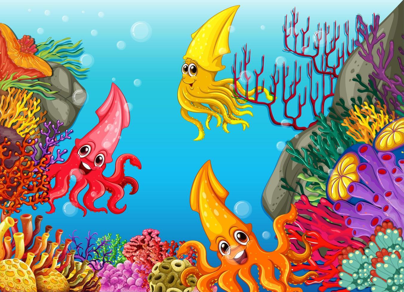 många olika bläckfisk seriefigurer i undervattensbakgrunden vektor