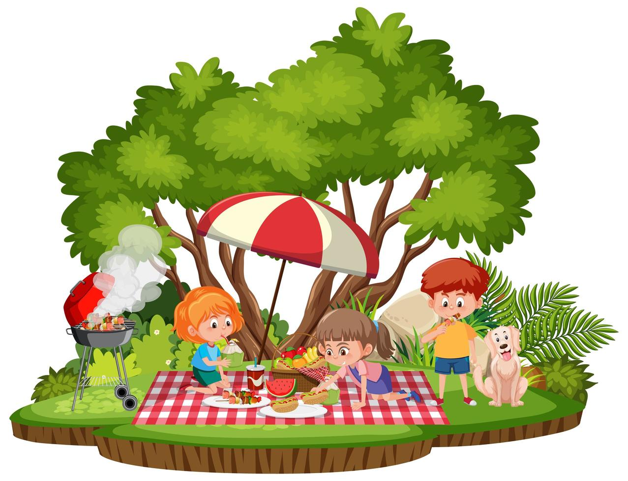 Kinderpicknick im Park isoliert vektor