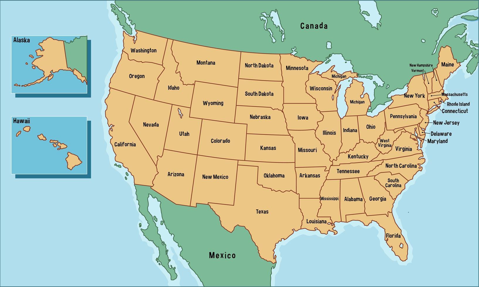 Karte Der Vereinigten Staaten Von Amerika Mit Namen Der Staaten Download Kostenlos Vector Clipart Graphics Vektorgrafiken Und Design Vorlagen