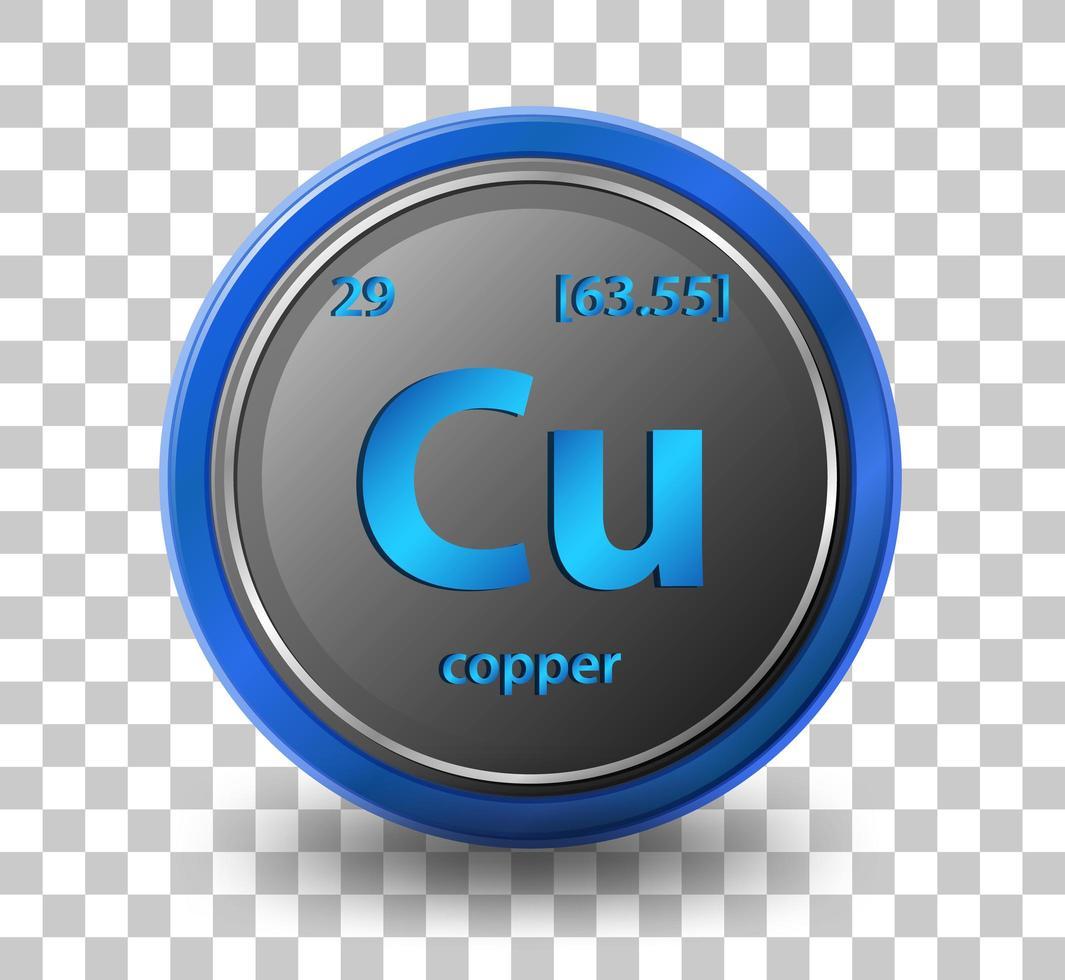 chemisches Kupferelement. chemisches Symbol mit Ordnungszahl und Atommasse. vektor