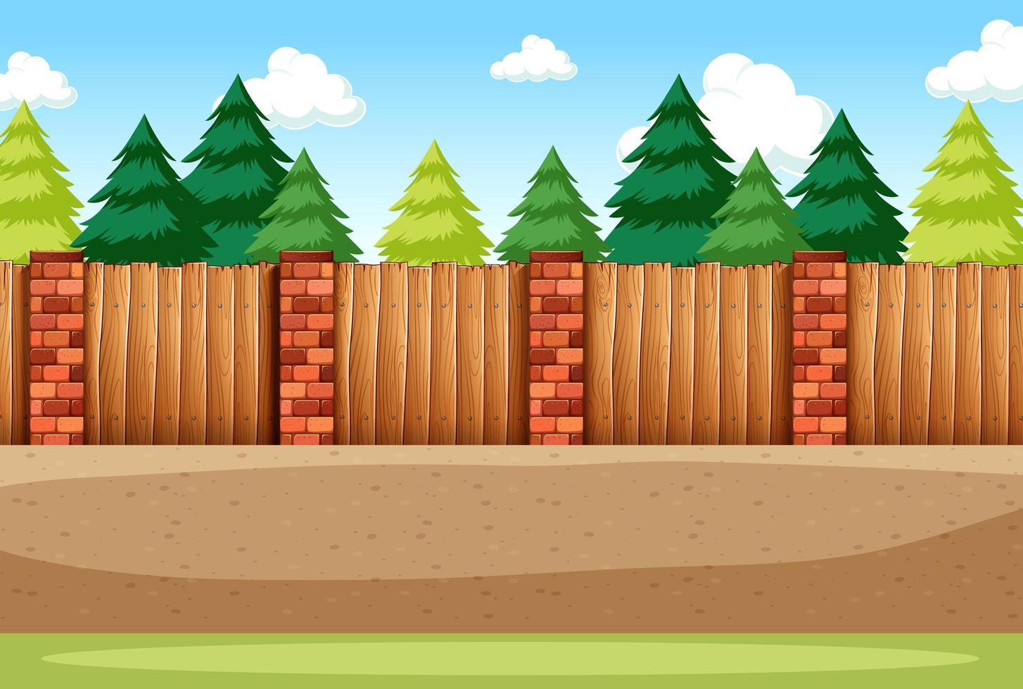 många tallar med tomt staket för bakgrundsscen vektor