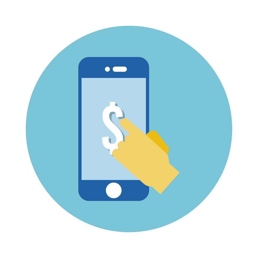 handen röra smartphone med dollarsymbol block stil vektor