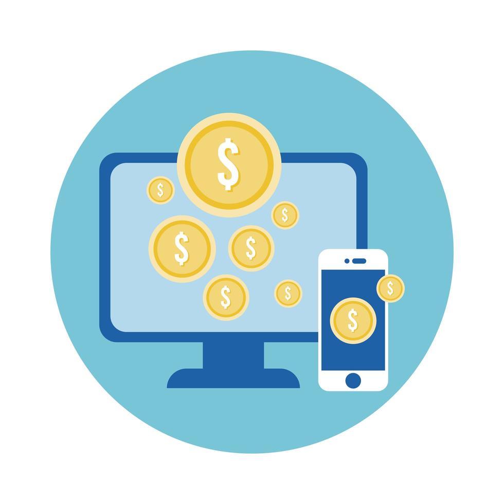 smartphone och skrivbord med myntblockstil vektor